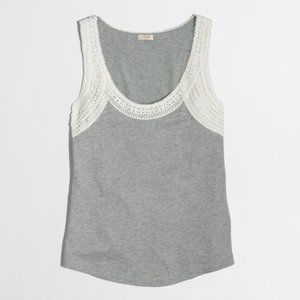 J Crew Factory gray &  cream crochet trim tank